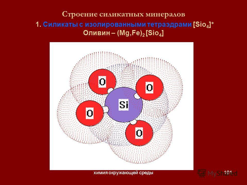 химия окружающей среды101 Строение силикатных минералов 1. Силикаты с изолированными тетраэдрами [Sio 4 ] + Оливин – (Mg,Fe) 2 [Sio 4 ]