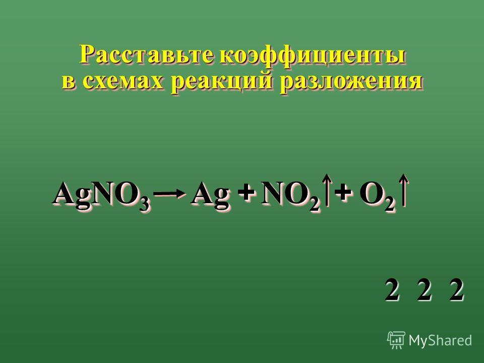 АgNO 3 АgАgАgАg АgАgАgАg++ NO 2 O2O2O2O2 O2O2O2O2 Расставьте коэффициенты в схемах реакций разложения ++ 222