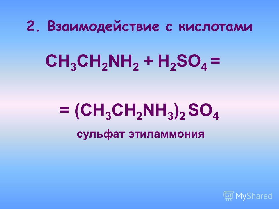 2. Взаимодействие с кислотами CH 3 CH 2 NH 2 + H 2 SO 4 = = (CH 3 CH 2 NH 3 ) 2 SO 4 сульфат этиламмония