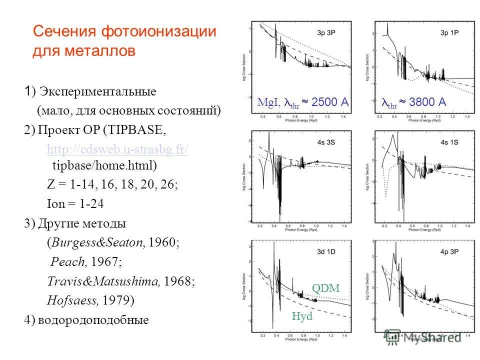 Сечения фотоионизации для металлов 1 ) Экспериментальные (мало, для основных состояний) 2) Проект OP (TIPBASE, http://cdsweb.u-strasbg.fr/ tipbase/home.html)http://cdsweb.u-strasbg.fr/ Z = 1-14, 16, 18, 20, 26; Ion = 1-24 3) Другие методы (Burgess&Se