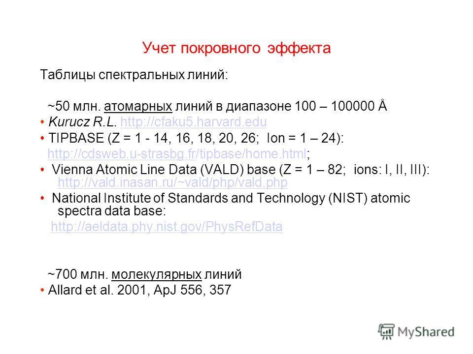 Учет покровного эффекта Таблицы спектральных линий: ~50 млн. атомарных линий в диапазоне 100 – 100000 Å Kurucz R.L. http://cfaku5.harvard.eduhttp://cfaku5.harvard.edu TIPBASE (Z = 1 - 14, 16, 18, 20, 26; Ion = 1 – 24): http://cdsweb.u-strasbg.fr/tipb