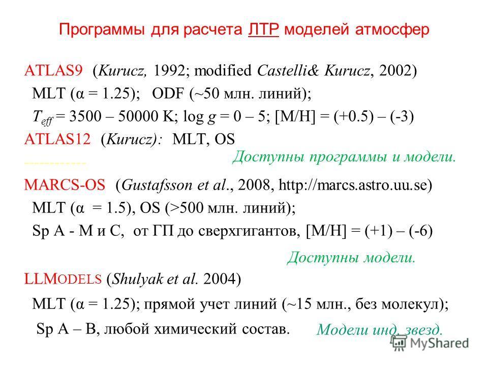 Программы для расчета ЛТР моделей атмосфер ATLAS9 (Kurucz, 1992; modified Castelli& Kurucz, 2002) MLT (α = 1.25); ODF (~50 млн. линий); T eff = 3500 – 50000 K; log g = 0 – 5; [M/H] = (+0.5) – (-3) ATLAS12 (Kurucz): MLT, OS ------------ MARCS-OS (Gust