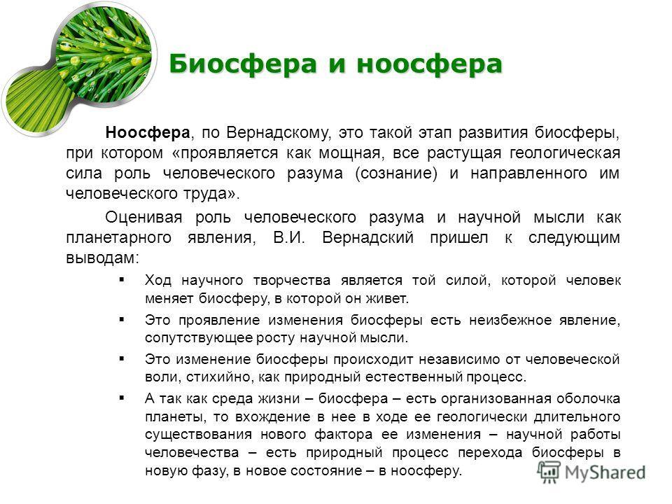 Биосфера и ноосфера Ноосфера, по Вернадскому, это такой этап развития биосферы, при котором «проявляется как мощная, все растущая геологическая сила роль человеческого разума (сознание) и направленного им человеческого труда». Оценивая роль человечес