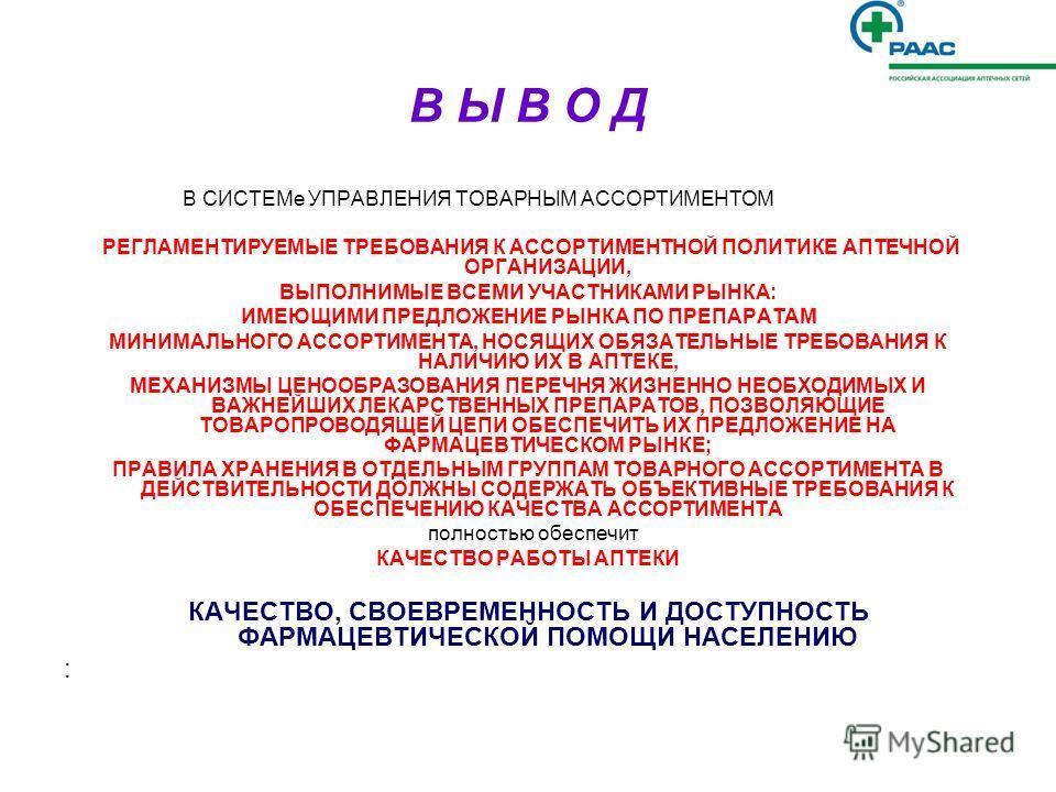 Ассортимент и ассортиментная политика аптечного учреждения