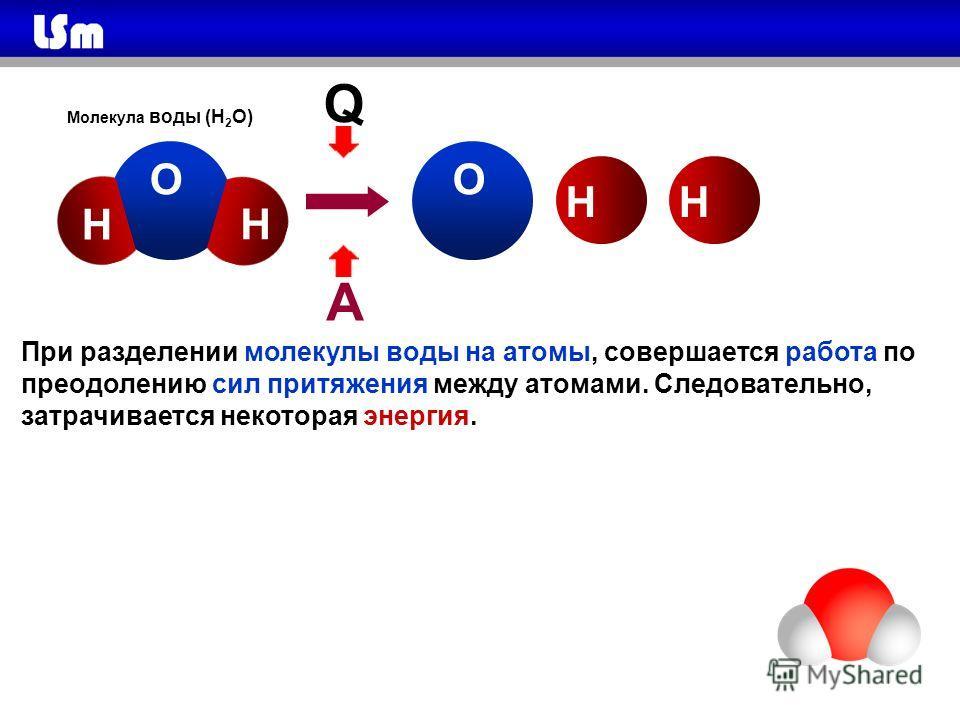 Q А ОО Н НН Молекула воды (Н 2 О) Н При разделении молекулы воды на атомы, совершается работа по преодолению сил притяжения между атомами. Следовательно, затрачивается некоторая энергия.