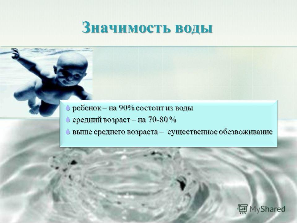 Значимость воды ребенок – на 90% состоит из воды ребенок – на 90% состоит из воды средний возраст – на 70-80 % средний возраст – на 70-80 % выше среднего возраста – существенное обезвоживание выше среднего возраста – существенное обезвоживание