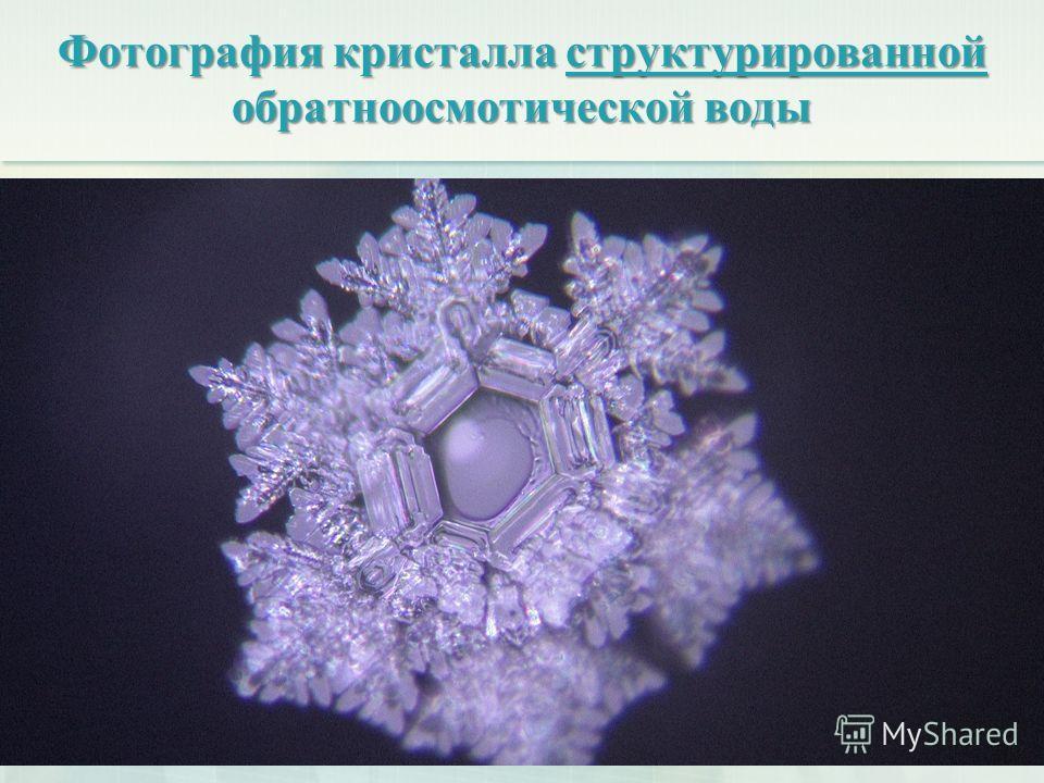 Фотография кристалла структурированной обратноосмотической воды