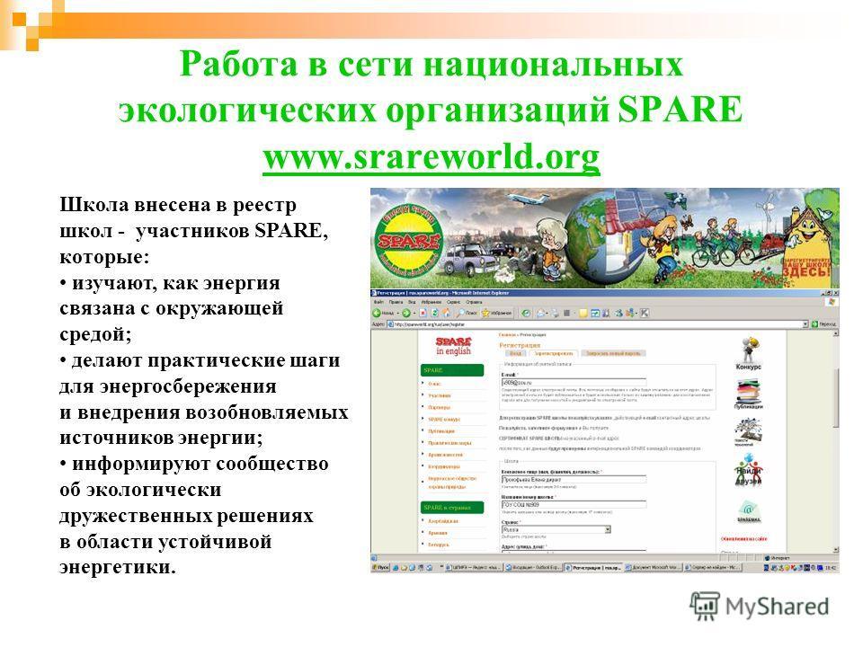 Работа в сети национальных экологических организаций SPARE www.srareworld.org Школа внесена в реестр школ - участников SPARE, которые: изучают, как энергия связана с окружающей средой; делают практические шаги для энергосбережения и внедрения возобно