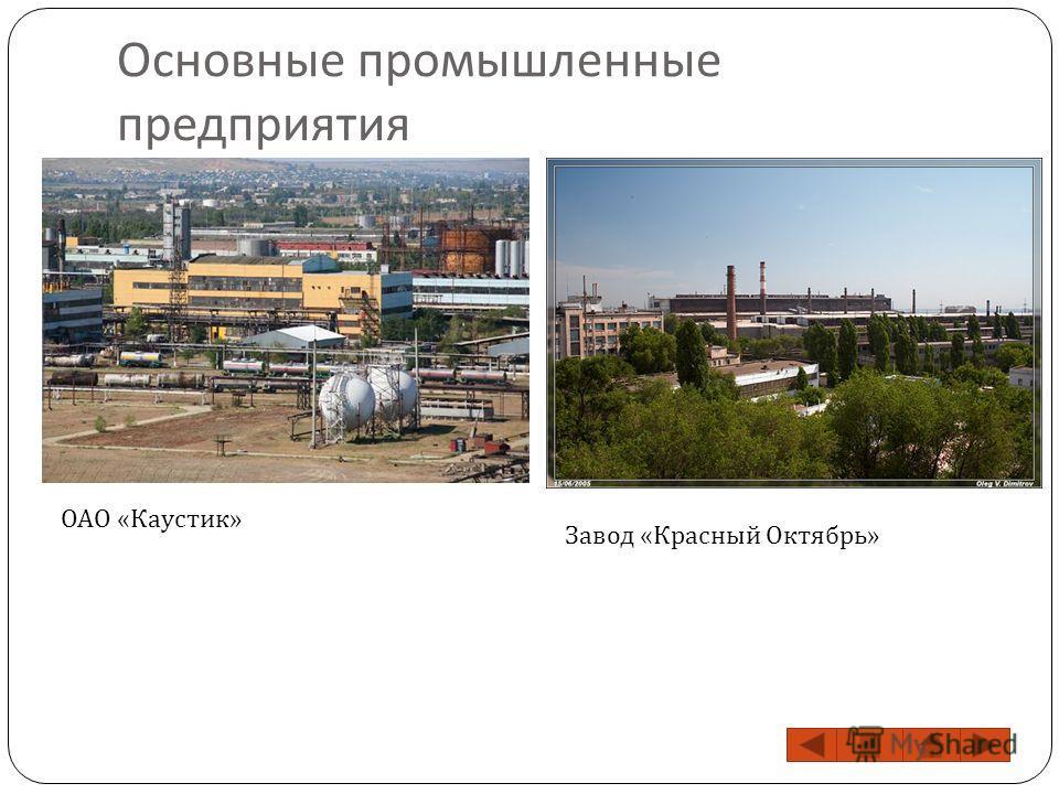 Основные промышленные предприятия ОАО «Каустик» Завод «Красный Октябрь»