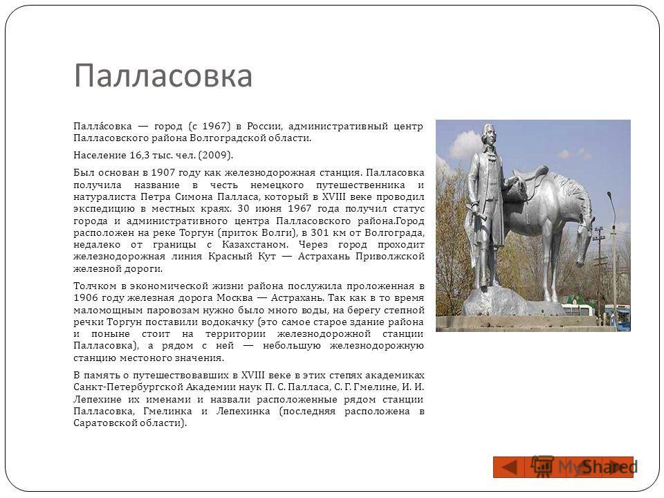 Палласовка Палласовка город ( с 1967) в России, административный центр Палласовского района Волгоградской области. Население 16,3 тыс. чел. (2009). Был основан в 1907 году как железнодорожная станция. Палласовка получила название в честь немецкого пу