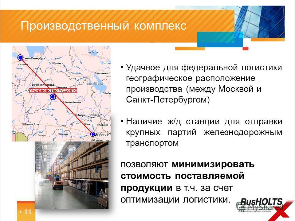 Удачное для федеральной логистики географическое расположение производства (между Москвой и Санкт-Петербургом) Наличие ж/д станции для отправки крупных партий железнодорожным транспортом позволяют минимизировать стоимость поставляемой продукции в т.ч