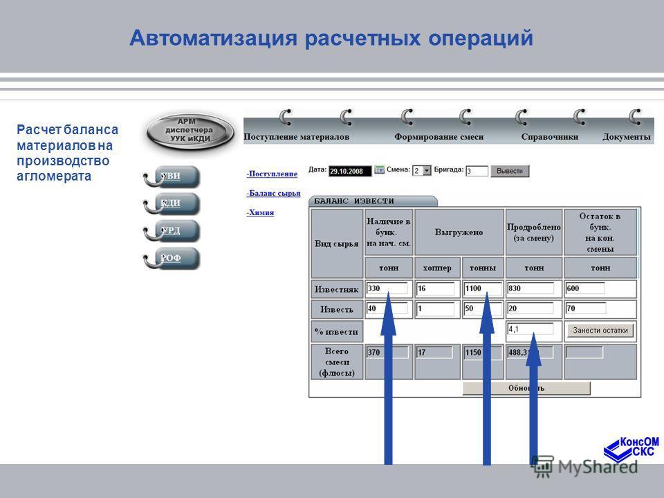 Автоматизация расчетных операций Расчет баланса материалов на производство агломерата