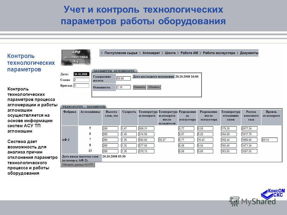 Учет и контроль технологических параметров работы оборудования Контроль технологических параметров Контроль технологических параметров процесса агломерации и работы агломашин осуществляется на основе информации систем АСУ ТП агломашин Система дает во