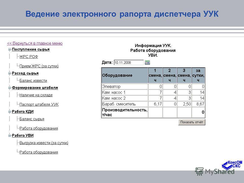 Ведение электронного рапорта диспетчера УУК