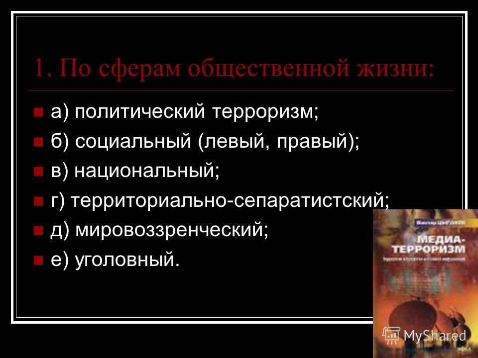 1. По сферам общественной жизни: а) политический терроризм; б) социальный (левый, правый); в) национальный; г) территориально-сепаратистский; д) мировоззренческий; е) уголовный.