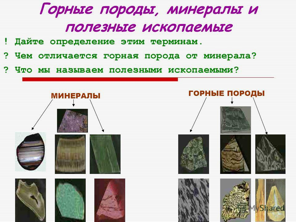 Горные породы, минералы и полезные ископаемые ! Дайте определение этим терминам. ? Чем отличается горная порода от минерала? ? Что мы называем полезными ископаемыми? МИНЕРАЛЫ ГОРНЫЕ ПОРОДЫ