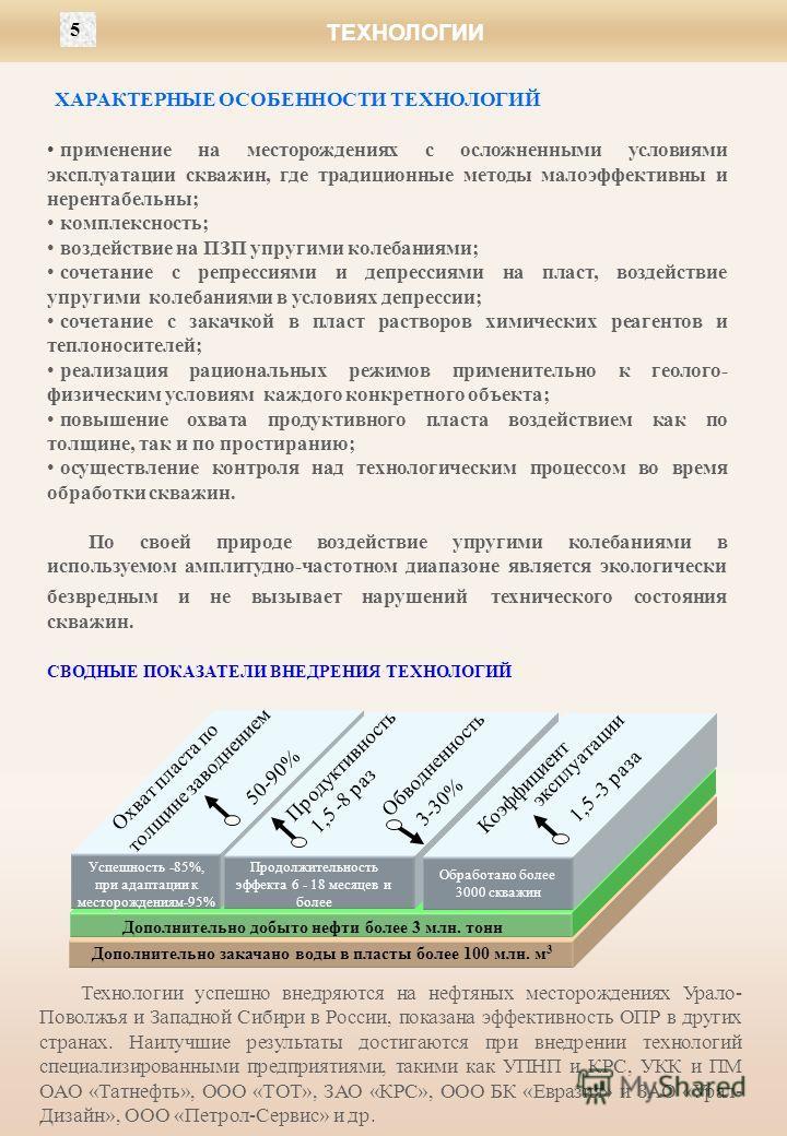 Технологии успешно внедряются на нефтяных месторождениях Урало- Поволжья и Западной Сибири в России, показана эффективность ОПР в других странах. Наилучшие результаты достигаются при внедрении технологий специализированными предприятиями, такими как