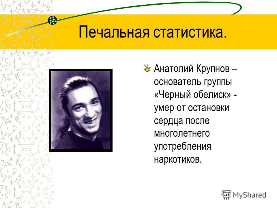 Печальная статистика Александр Башлачев – рок-бард – выбросился из окна, приняв большую дозу наркотиков.