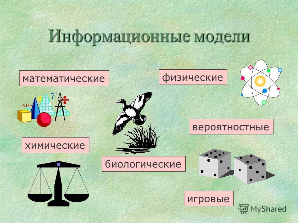Информационные модели математические физические биологические вероятностные химические игровые