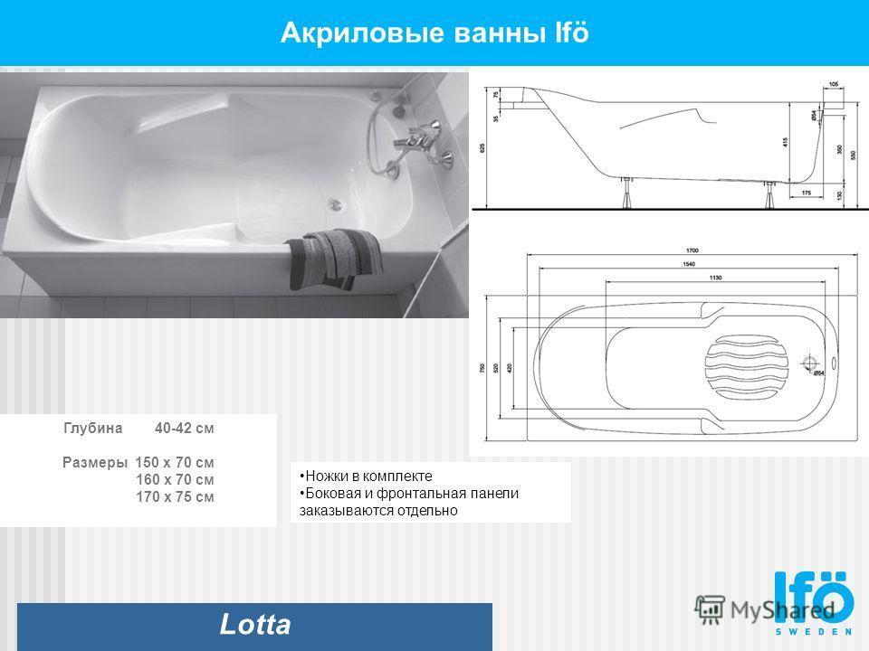 Акриловые ванны Ifö Lotta Глубина 40-42 см Размеры 150 x 70 см 160 x 70 см 170 x 75 см Ножки в комплекте Боковая и фронтальная панели заказываются отдельно