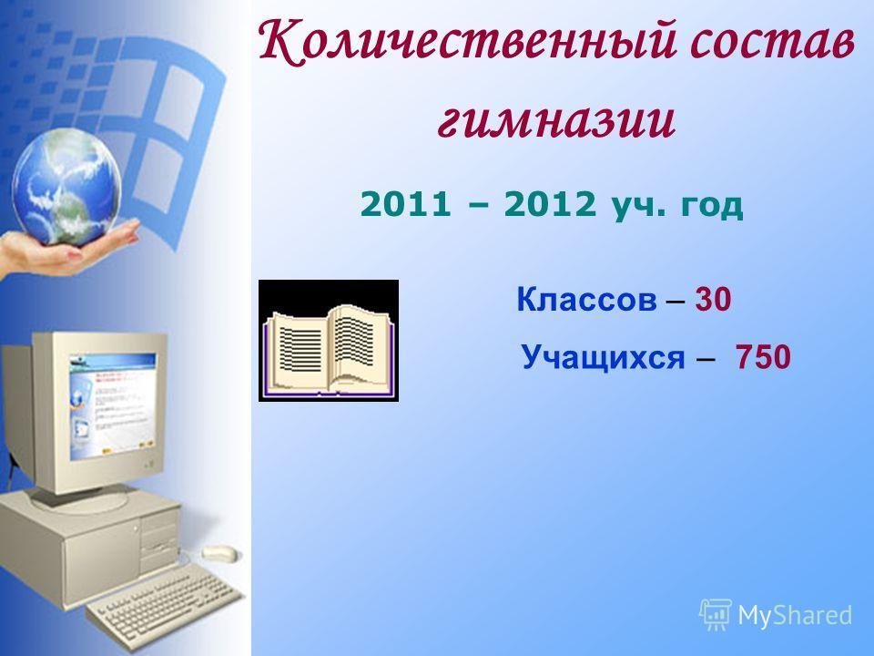 Количественный состав гимназии 2011 – 2012 уч. год Учащихся – 750 Классов – 30