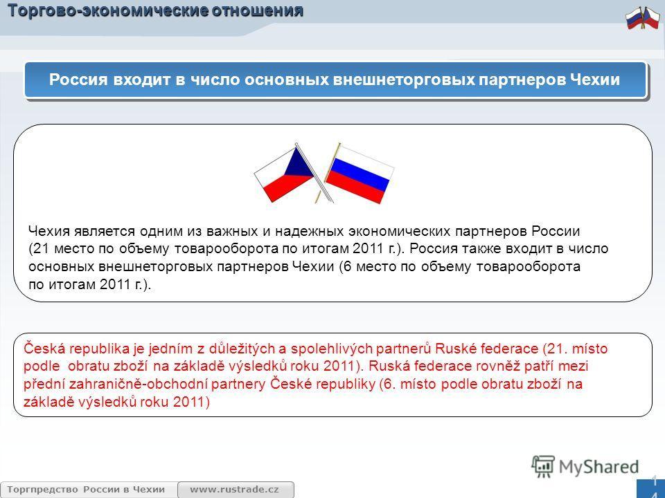 www.rustrade.cz Торгпредство России в Чехии Торгово-экономические отношения Чехия является одним из важных и надежных экономических партнеров России (21 место по объему товарооборота по итогам 2011 г.). Россия также входит в число основных внешнеторг