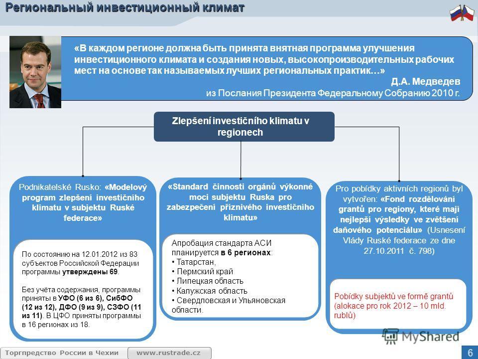 www.rustrade.cz Торгпредство России в Чехии Региональный инвестиционный климат «В каждом регионе должна быть принята внятная программа улучшения инвестиционного климата и создания новых, высокопроизводительных рабочих мест на основе так называемых лу