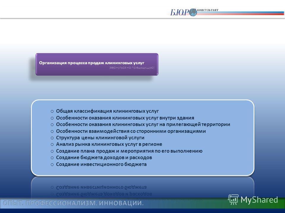Организация процесса продаж клининговых услуг (вернуться на предыдущую) Организация процесса продаж клининговых услуг (вернуться на предыдущую)