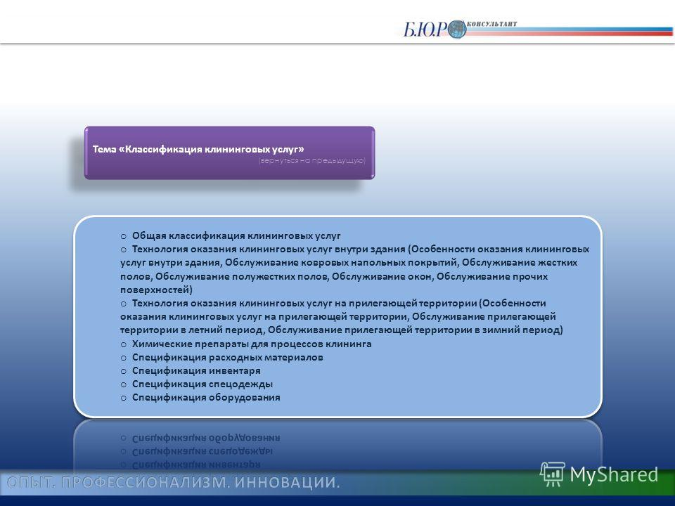 Тема «Классификация клининговых услуг» (вернуться на предыдущую) Тема «Классификация клининговых услуг» (вернуться на предыдущую)