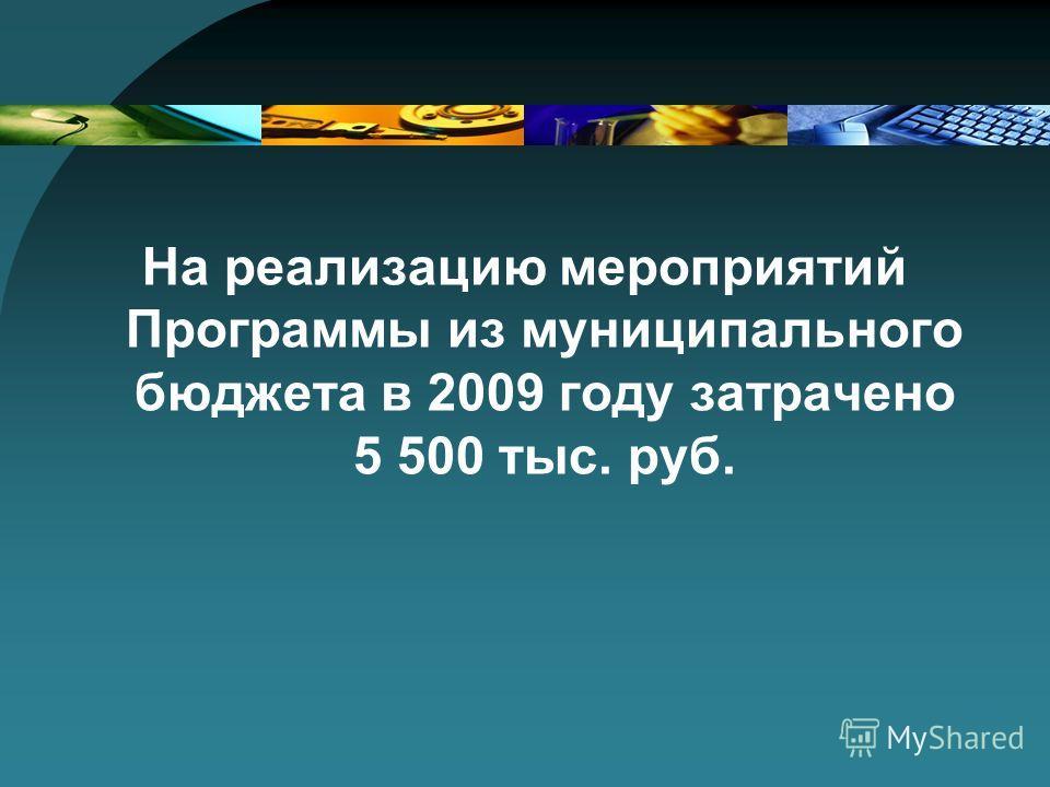На реализацию мероприятий Программы из муниципального бюджета в 2009 году затрачено 5 500 тыс. руб.