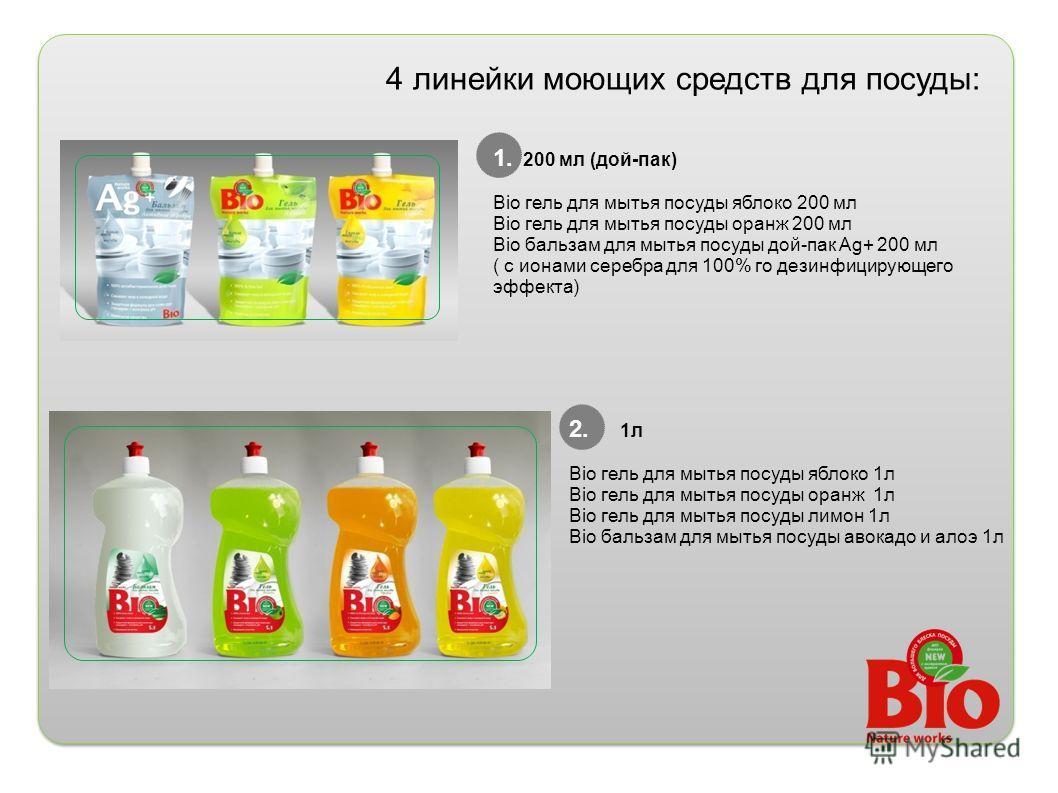 4 линейки моющих средств для посуды: 1. 200 мл (дой-пак) Bio гель для мытья посуды яблоко 200 мл Bio гель для мытья посуды оранж 200 мл Bio бальзам для мытья посуды дой-пак Ag+ 200 мл ( с ионами серебра для 100% го дезинфицирующего эффекта) 2. 1л Bio