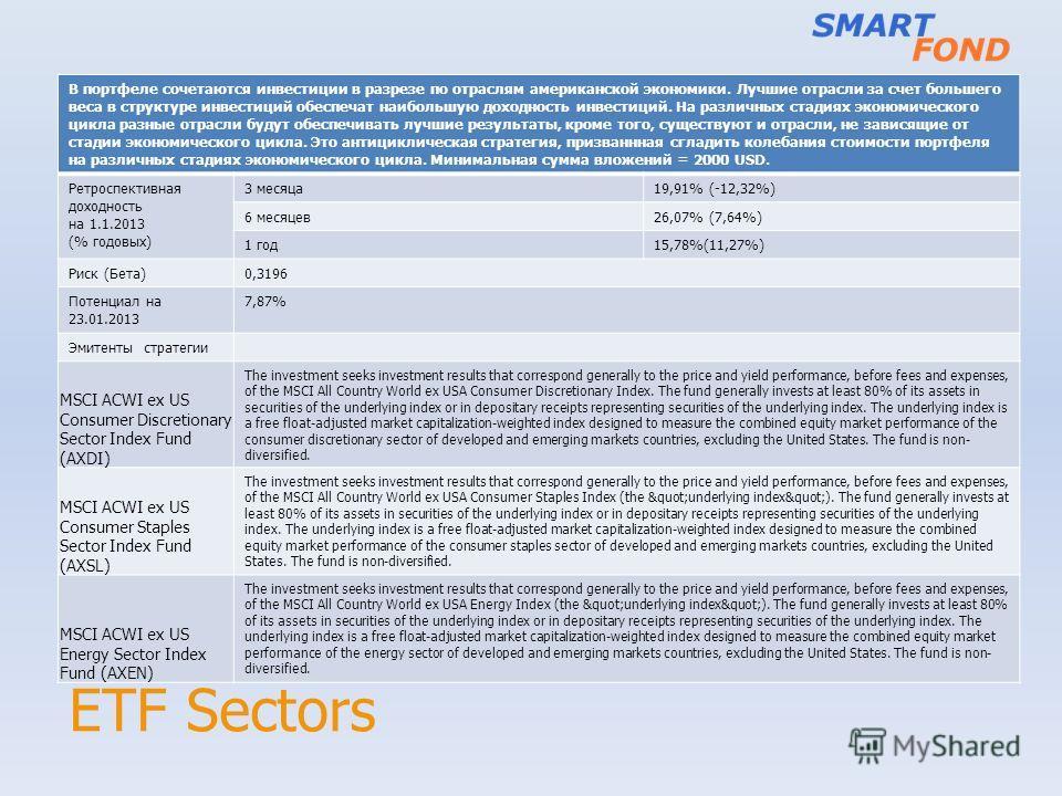ETF Sectors В портфеле сочетаются инвестиции в разрезе по отраслям американской экономики. Лучшие отрасли за счет большего веса в структуре инвестиций обеспечат наибольшую доходность инвестиций. На различных стадиях экономического цикла разные отрасл