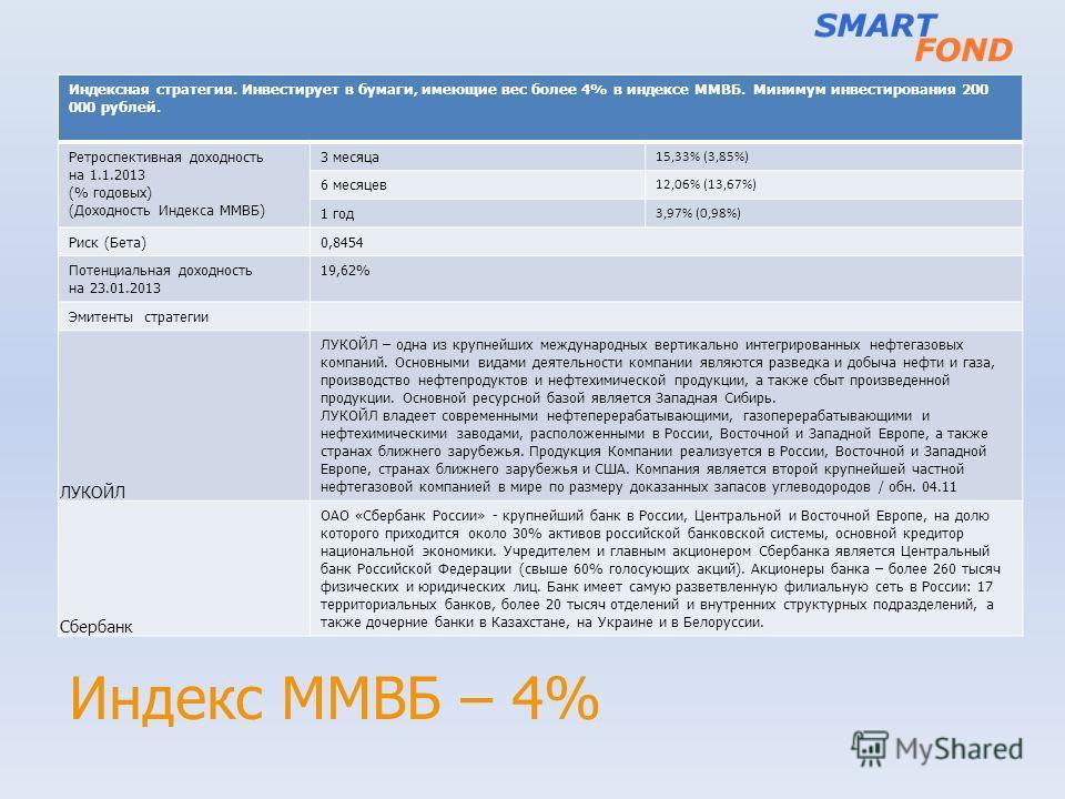 Индекс ММВБ – 4% Индексная стратегия. Инвестирует в бумаги, имеющие вес более 4% в индексе ММВБ. Минимум инвестирования 200 000 рублей. Ретроспективная доходность на 1.1.2013 (% годовых) (Доходность Индекса ММВБ) 3 месяца 15,33% (3,85%) 6 месяцев 12,