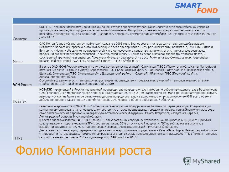 Фолио Компании роста Соллерс SOLLERS – это российская автомобильная компания, которая представляет полный комплекс услуг в автомобильной сфере от производства машин до их продажи и сервисного обслуживания. На производственных площадках компании выпус
