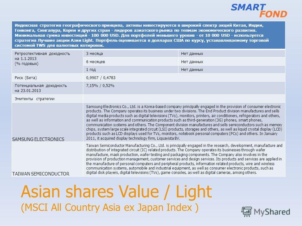 Asian shares Value / Light (MSCI All Country Asia ex Japan Index ) Индексная стратегия географического принципа, активы инвестируются в широкий спектр акций Китая, Индии, Гонконга, Сингапура, Кореи и других стран - лидеров азиатского рынка по тепмам