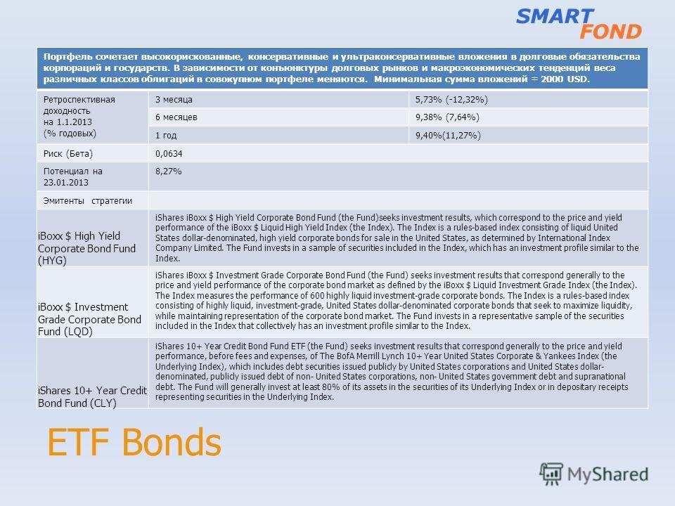 ETF Bonds Портфель сочетает высокорискованные, консервативные и ультраконсервативные вложения в долговые обязательства корпораций и государств. В зависимости от конъюнктуры долговых рынков и макроэкономических тенденций веса различных классов облигац