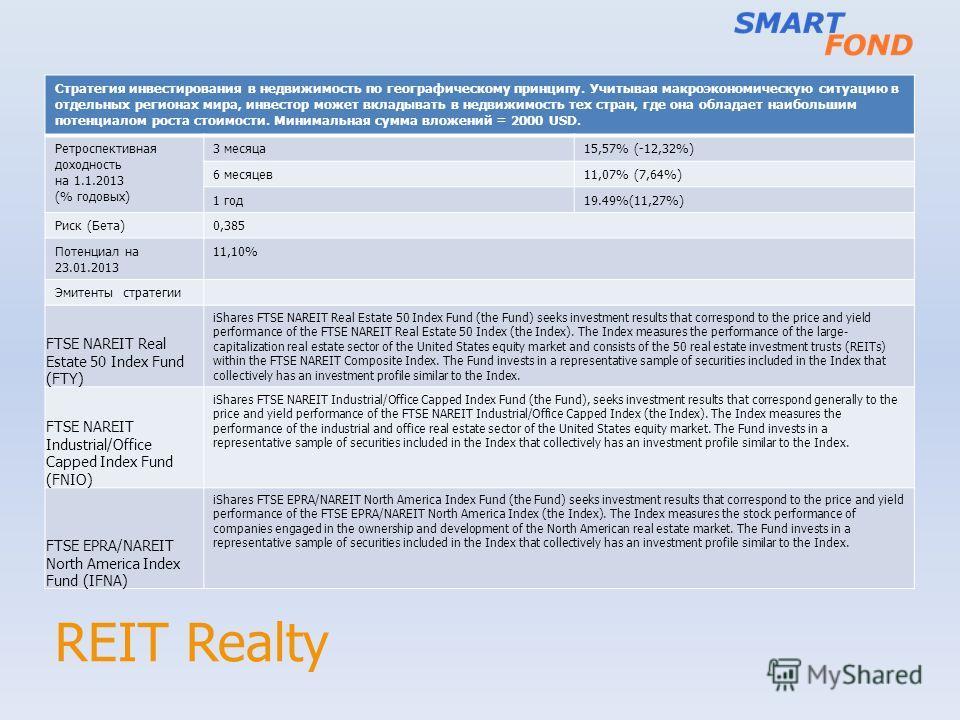 REIT Realty Стратегия инвестирования в недвижимость по географическому принципу. Учитывая макроэкономическую ситуацию в отдельных регионах мира, инвестор может вкладывать в недвижимость тех стран, где она обладает наибольшим потенциалом роста стоимос