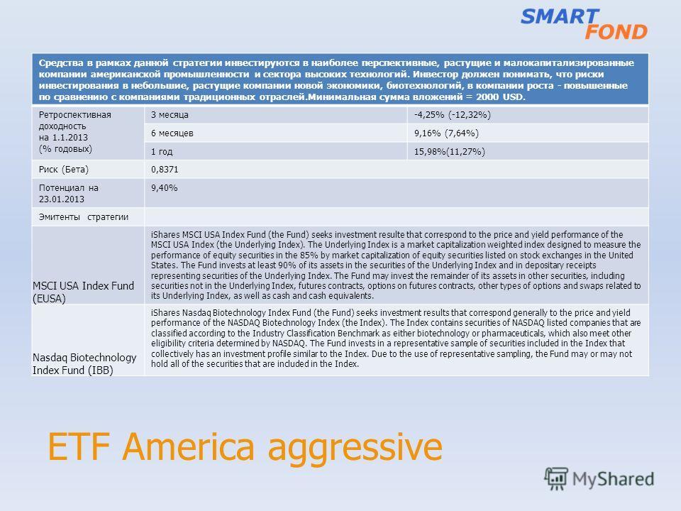 ETF America aggressive Средства в рамках данной стратегии инвестируются в наиболее перспективные, растущие и малокапитализированные компании американской промышленности и сектора высоких технологий. Инвестор должен понимать, что риски инвестирования
