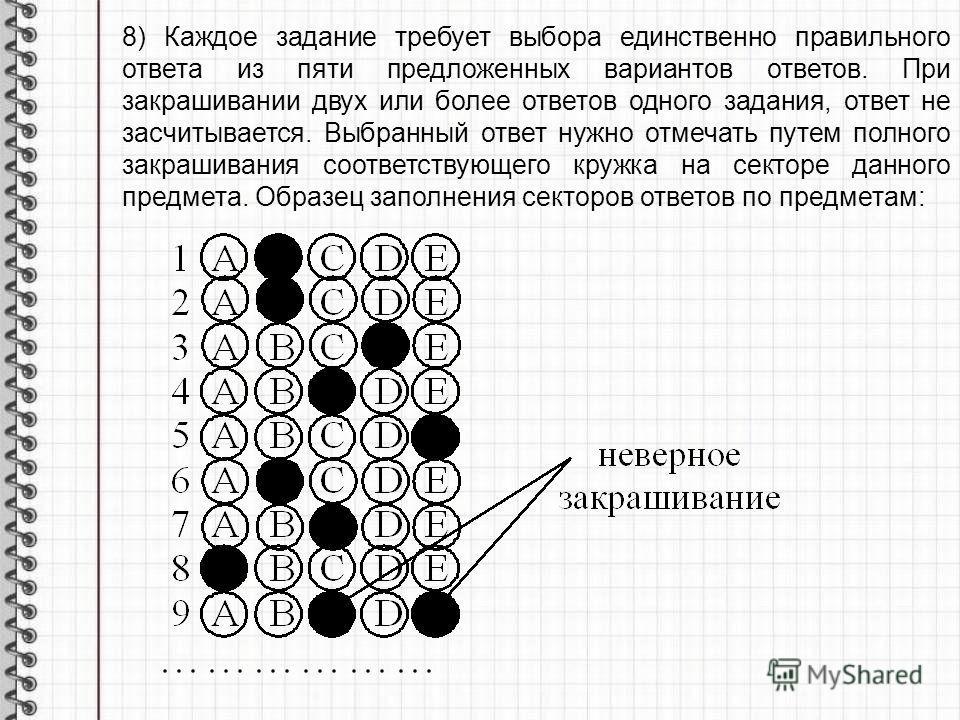 8) Каждое задание требует выбора единственно правильного ответа из пяти предложенных вариантов ответов. При закрашивании двух или более ответов одного задания, ответ не засчитывается. Выбранный ответ нужно отмечать путем полного закрашивания соответс