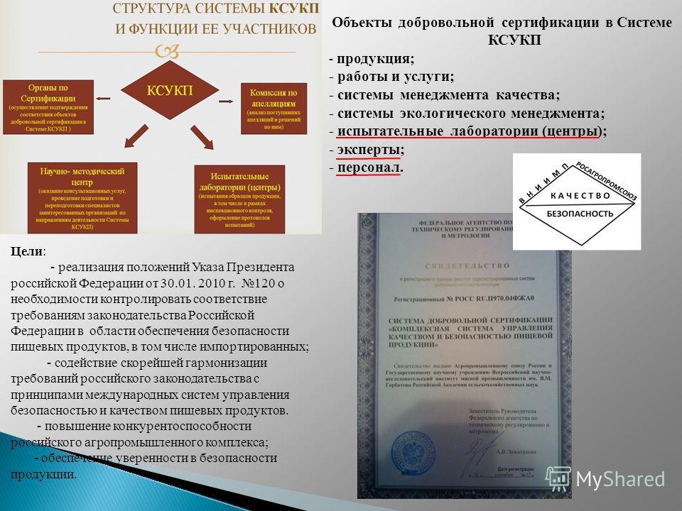 Цели: - реализация положений Указа Президента российской Федерации от 30.01. 2010 г. 120 о необходимости контролировать соответствие требованиям законодательства Российской Федерации в области обеспечения безопасности пищевых продуктов, в том числе и