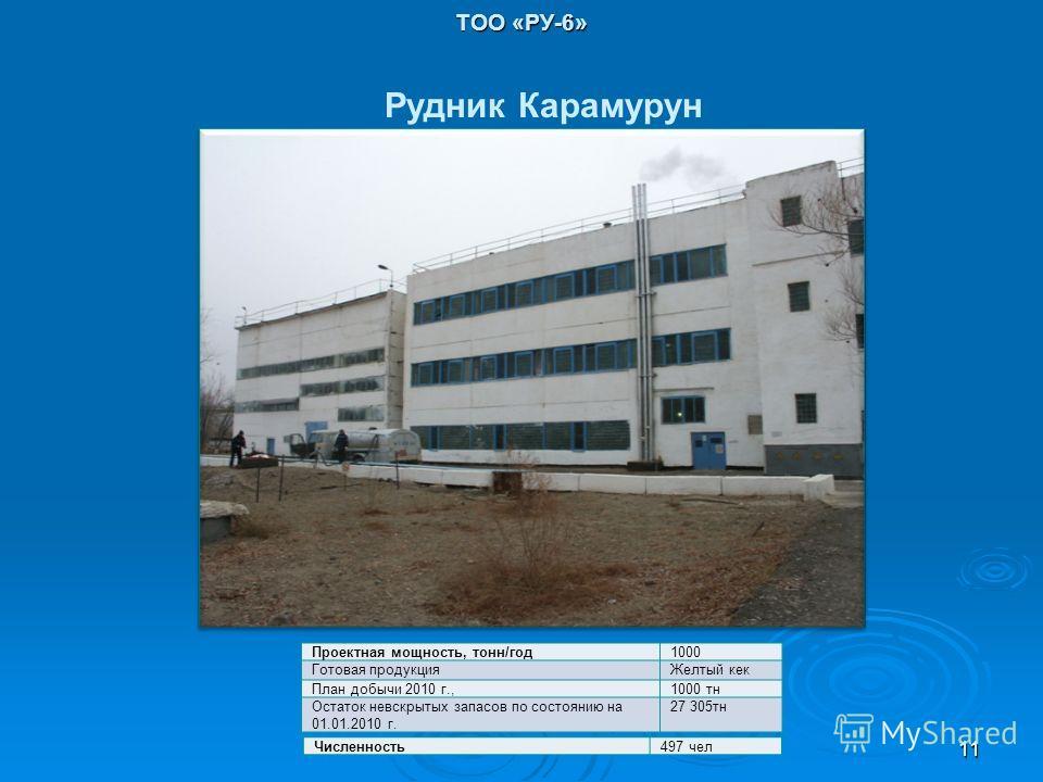 ТОО «РУ-6» Проектная мощность, тонн/год1000 Готовая продукцияЖелтый кек План добычи 2010 г.,1000 тн Остаток невскрытых запасов по состоянию на 01.01.2010 г. 27 305тн Рудник Карамурун Численность497 чел 11