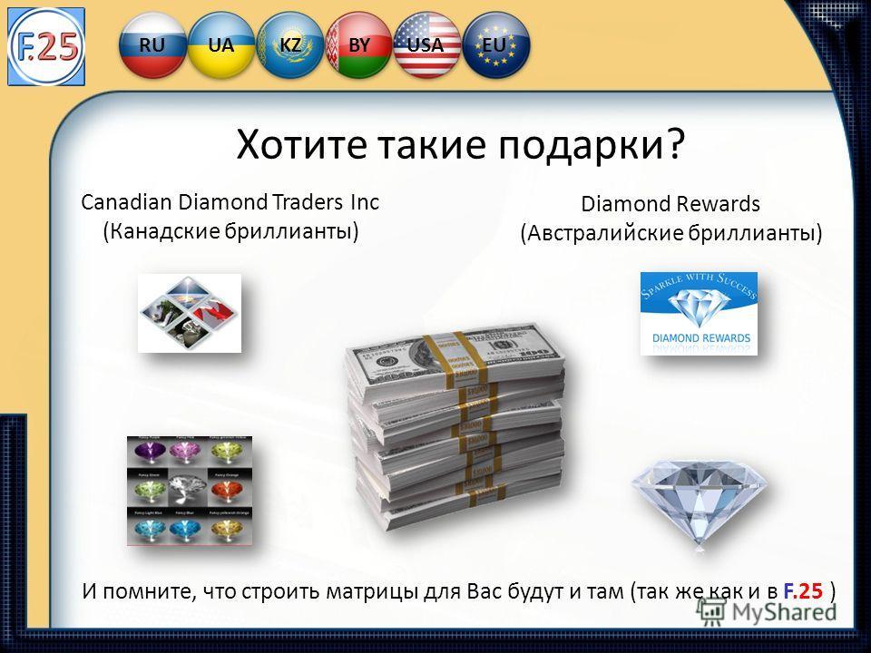 Хотите такие подарки? Canadian Diamond Traders Inc (Канадские бриллианты) Diamond Rewards (Австралийские бриллианты) И помните, что строить матрицы для Вас будут и там (так же как и в F.25 ) RUUAKZBYUSAEU