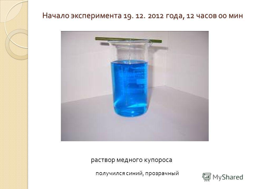 Начало эксперимента 19. 12. 2012 года, 12 часов 00 мин раствор медного купороса получился синий, прозрачный