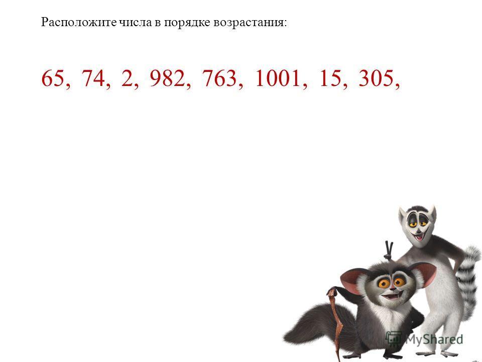 Расположите числа в порядке возрастания: 65,74,2,982,763,1001,15,305,