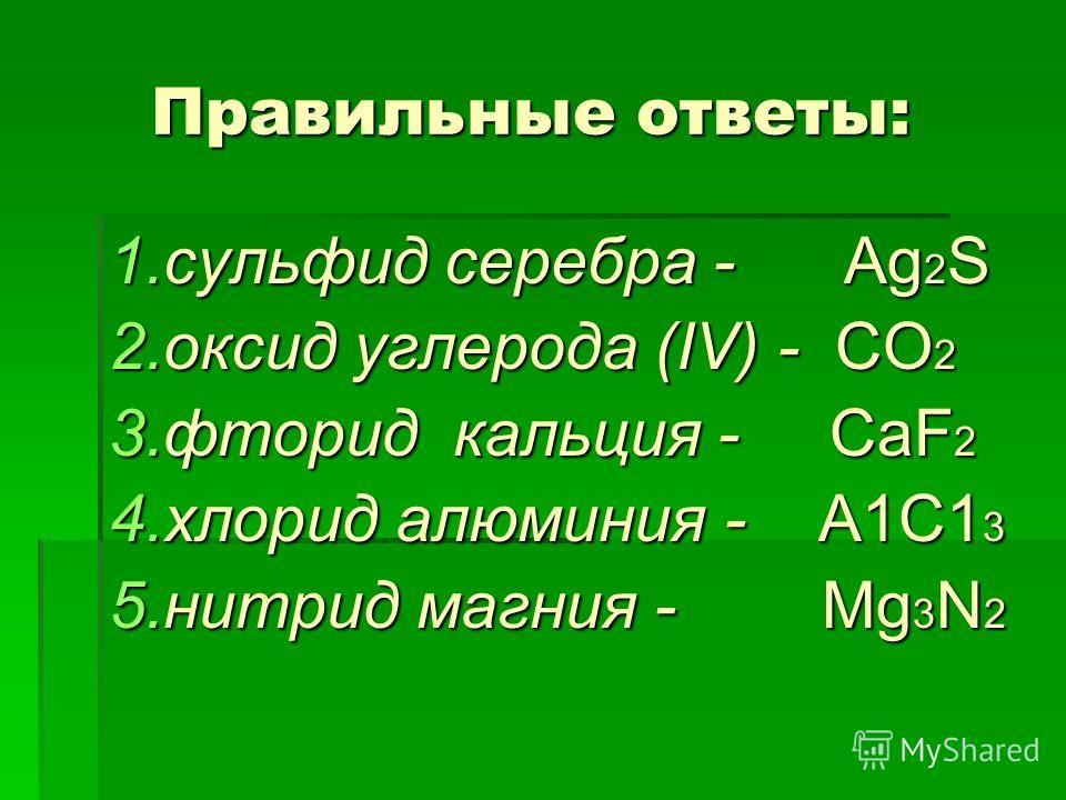 Правильные ответы: Правильные ответы: 1.сульфид серебра - Ag 2 S 2.оксид углерода (IV) - СО 2 3.фторид кальция - СаF 2 4.хлорид алюминия - А1С1 3 5.нитрид магния - Mg 3 N 2