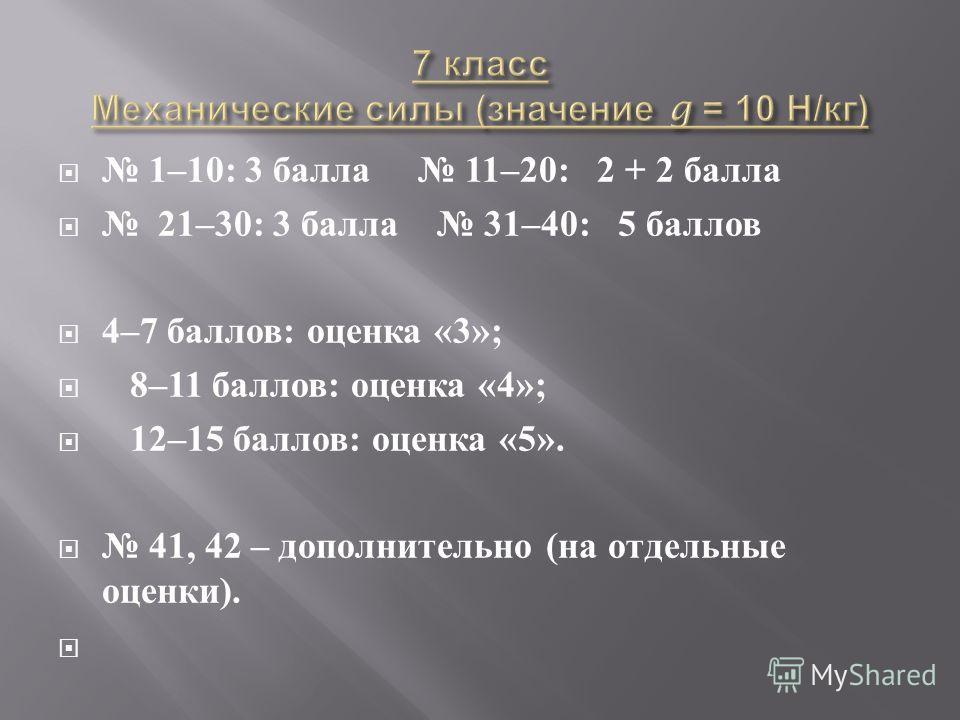 1–10: 3 балла 11–20: 2 + 2 балла 21–30: 3 балла 31–40: 5 баллов 4–7 баллов : оценка «3»; 8–11 баллов : оценка «4»; 12–15 баллов : оценка «5». 41, 42 – дополнительно ( на отдельные оценки ).