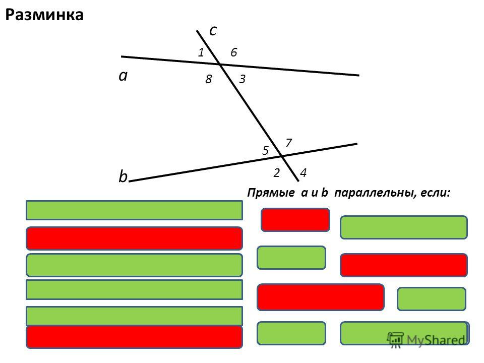 а b с 16 83 5 7 24 и и- вертикальные углы; и и- соответственные углы; и и- накрест лежащие углы; и и- смежные углы; и и- односторонние углы; и и Прямые а и b параллельны, если: 1 = 2.2.= 4 = 3 + =180 5 + 6 + 8 + = 7 Разминка