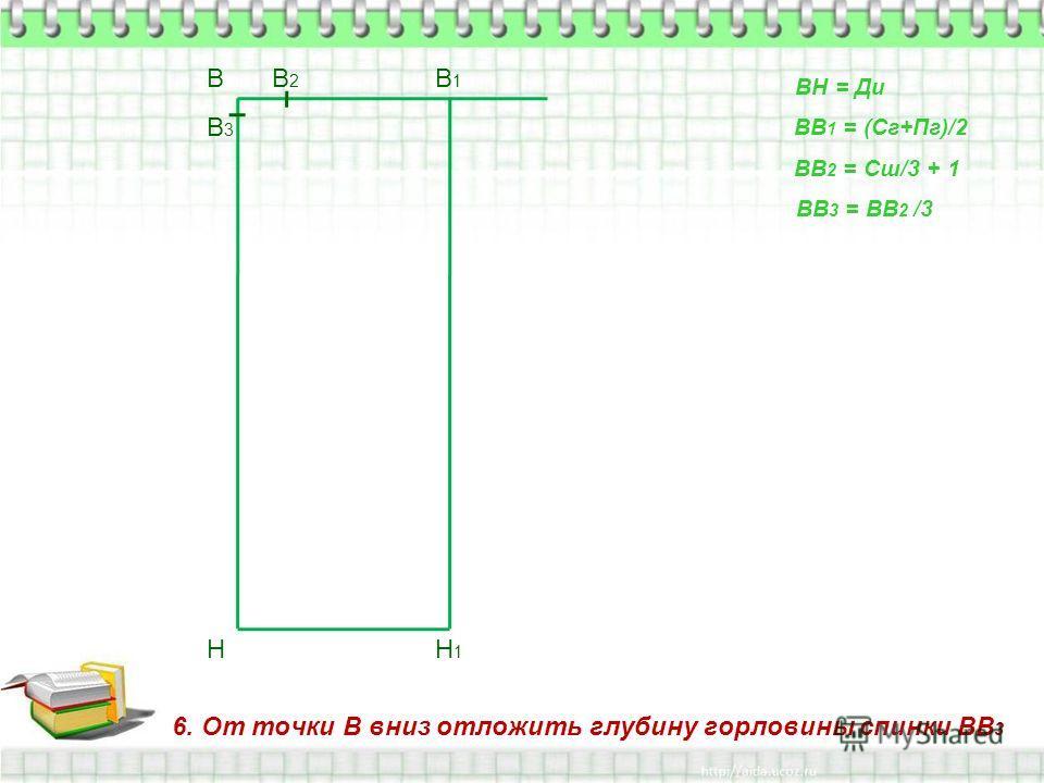 6. От точки В вниз отложить глубину горловины спинки ВВ 3 В Н ВН = Ди ВВ 1 = (Сг+Пг)/2 В1В1 Н1Н1 ВВ 2 = Сш/3 + 1 В2В2 ВВ 3 = ВВ 2 /3 В3В3