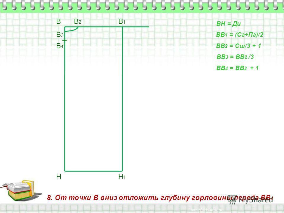 8. От точки В вниз отложить глубину горловины переда ВВ 4 В Н ВН = Ди ВВ 1 = (Сг+Пг)/2 В1В1 Н1Н1 ВВ 2 = Сш/3 + 1 В2В2 ВВ 3 = ВВ 2 /3 В3В3 ВВ 4 = ВВ 2 + 1 В4В4