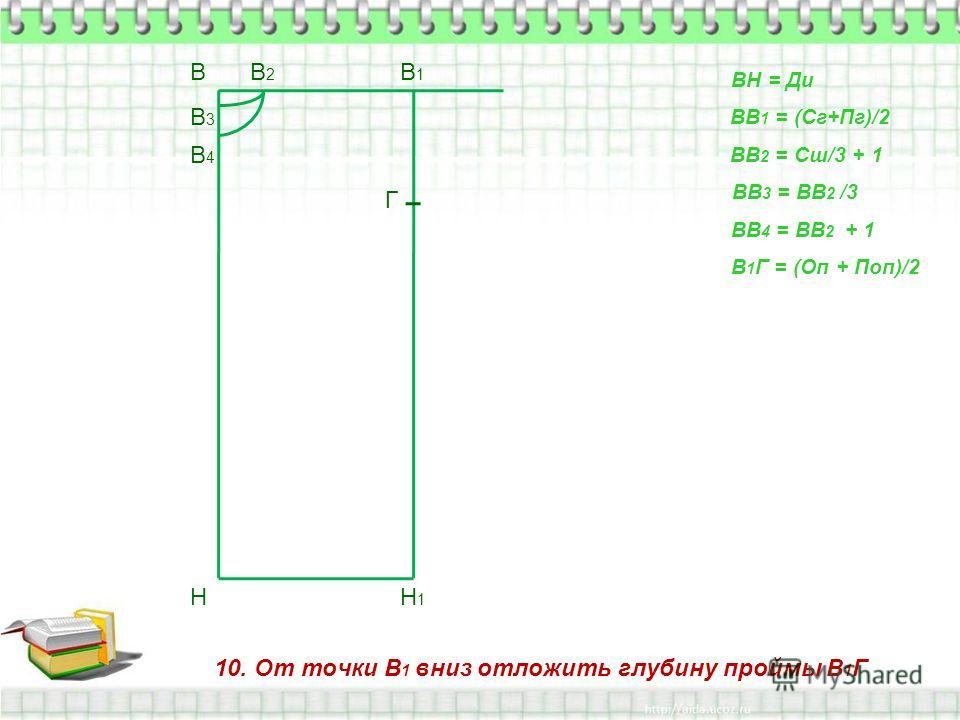 10. От точки В 1 вниз отложить глубину проймы В 1 Г В Н ВН = Ди ВВ 1 = (Сг+Пг)/2 В1В1 Н1Н1 ВВ 2 = Сш/3 + 1 В2В2 ВВ 3 = ВВ 2 /3 В3В3 ВВ 4 = ВВ 2 + 1 В4В4 В 1 Г = (Оп + Поп)/2 Г